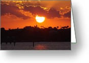 Jensen Beach Greeting Cards - Sunset Over Jensen Greeting Card by Don Youngclaus