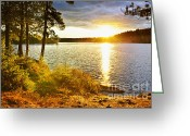 Shimmering Greeting Cards - Sunset over lake Greeting Card by Elena Elisseeva