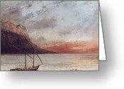 Europe Painting Greeting Cards - Sunset over Lake Leman Greeting Card by Gustave Courbet