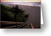Michigan Drawings Greeting Cards - Sunset Over Lake Michigan Greeting Card by Hans Kaiser