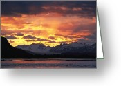 River Scenes Greeting Cards - Sunset Over Lowell Glacier, Alsek Greeting Card by David Edwards