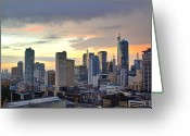 City Life Greeting Cards - Sunset Over  Makati City, Manila Greeting Card by Neil Howard