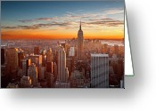 New York State Greeting Cards - Sunset Over Manhattan Greeting Card by Inigo Cia