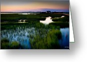Reeds Reflections Greeting Cards - Sunset Over Marsh Greeting Card by John Pagliuca
