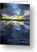 Lakes Pastels Greeting Cards - Sunset Over Mystic Lakes Greeting Card by Jack Skinner