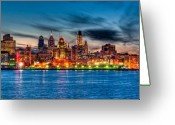 Waterfront Greeting Cards - Sunset over philadelphia Greeting Card by Louis Dallara