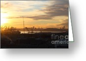 Port Of San Francisco Greeting Cards - Sunset Over San Francisco Skyline Through The Port of Oakland . 7D11029 Greeting Card by Wingsdomain Art and Photography