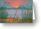 Dusk Pastels Greeting Cards - Sunset Over the Bay Bridge Greeting Card by Cathy Harville