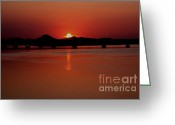 Hillary Clinton Greeting Cards - Sunset Over The Big Dam Bridge Greeting Card by Joe Finney