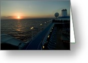 Cruise Ships Greeting Cards - Sunset Over The Caribbean Sea As Seen Greeting Card by Todd Gipstein