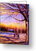 Sunset Scenes. Painting Greeting Cards - Sunset Over The Hockey Game Greeting Card by Carole Spandau