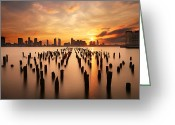 River. Clouds Greeting Cards - Sunset over the Hudson River Greeting Card by Larry Marshall