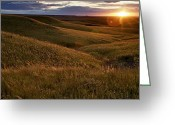 Manhattan Photo Greeting Cards - Sunset Over The Kansas Prairie Greeting Card by Jim Richardson