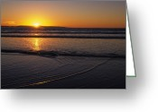 Sand Beaches Greeting Cards - Sunset Over The Pacific Ocean Greeting Card by Stacy Gold