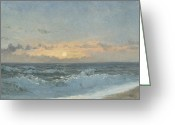 Shores Painting Greeting Cards - Sunset over the Sea Greeting Card by William Pye