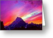 National Mixed Media Greeting Cards - Sunset Over the Sierras Greeting Card by Nadine and Bob Johnston