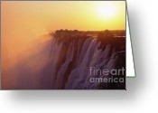 Zambia Greeting Cards - Sunset over The Victoria Falls Greeting Card by Alex Cassels