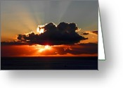 Waikiki Beach Greeting Cards - Sunset Over Waikiki I Greeting Card by Elizabeth Hoskinson