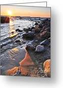 Great Lakes Photo Greeting Cards - Sunset over water Greeting Card by Elena Elisseeva