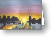 Windmill Mixed Media Greeting Cards - Sunset over Windmill and Boat Greeting Card by David Bishop