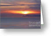Visual Artist Greeting Cards - Sunset. Pacific Ocean and Catalina Island Greeting Card by Viktor Savchenko