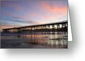 San Simeon Greeting Cards - Sunset Pier 1 Greeting Card by Bob Christopher