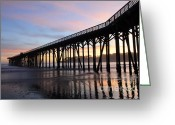 San Simeon Greeting Cards - Sunset Pier 2 Greeting Card by Bob Christopher