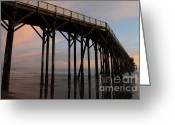 San Simeon Greeting Cards - Sunset Pier 4 Greeting Card by Bob Christopher