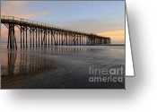 San Simeon Greeting Cards - Sunset Pier 5 Greeting Card by Bob Christopher