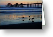 West Coast Photo Greeting Cards - Sunset pier Greeting Card by Pierre Leclerc