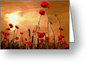 Flowery Greeting Cards - Sunset Poppies Greeting Card by James Shepherd