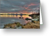 Distant Greeting Cards - Sunset Reflecting Water,clouds, Sandnessund Bridge Greeting Card by Bernt Olsen