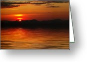 Dusk Mixed Media Greeting Cards - Sunset Reflection on the Lake Greeting Card by Gravityx Designs