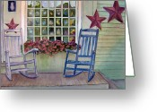Rocking Chairs Greeting Cards - Sunset Reflections Greeting Card by Katherine  Berlin