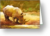 Watercolor Painting Greeting Cards - Sunset Rhino Greeting Card by Brian Kesinger