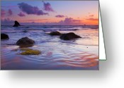 Oregon Photo Greeting Cards - Sunset Ripples Greeting Card by Mike  Dawson