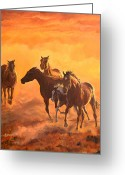 Quarter Horses Greeting Cards - Sunset run Greeting Card by Jana Goode