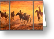 Quarter Horses Greeting Cards - Sunset Run Triptych Greeting Card by Jana Goode