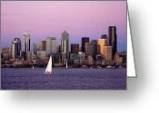 Seattle Skyline Greeting Cards - Sunset Sail in Puget Sound Greeting Card by Adam Romanowicz