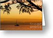 Sand Traps Greeting Cards - Sunset Sail Greeting Card by Rene Triay Photography
