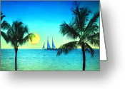 Key West Island Greeting Cards - Sunset Sailor Greeting Card by Bill Cannon