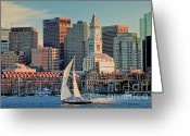 Suffolk County Greeting Cards - Sunset Sails on Boston Harbor Greeting Card by Susan Cole Kelly
