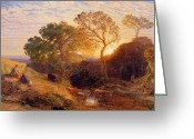 Shepherdess Painting Greeting Cards - Sunset Greeting Card by Samuel Palmer