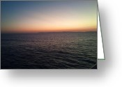 Phuong Tu Greeting Cards - Sunset Santa Monica Beach Greeting Card by Phuong Tu