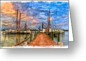 Bridge Greeting Cards Greeting Cards - Sunset Shrimping II Greeting Card by Debra and Dave Vanderlaan