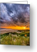 Sun Flare Greeting Cards - Sunset Storm Greeting Card by Ches Black