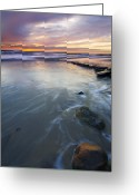 Tides Greeting Cards - Sunset Storm Greeting Card by Mike  Dawson