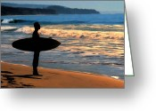 Surf Silhouette Digital Art Greeting Cards - Sunset Surfer Greeting Card by Dave Nielsen
