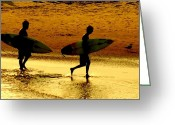Beaches Greeting Cards - Sunset Surfers  Greeting Card by Benanne Stiens