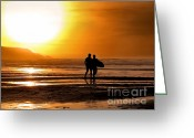 Surf Silhouette Greeting Cards - Sunset surfers Greeting Card by Richard Thomas